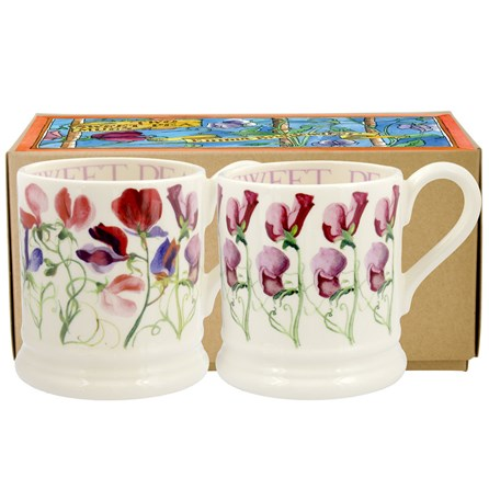 Emma Bridgewater Set of 2 Sweet Pea Flower 1/2 Pt Mugs