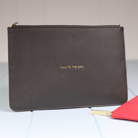 Personalised 'Talk To The Bag' Charcoal Perfect Pouch