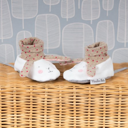 Moulin Roty Rabbit Baby Slippers - Beige & White