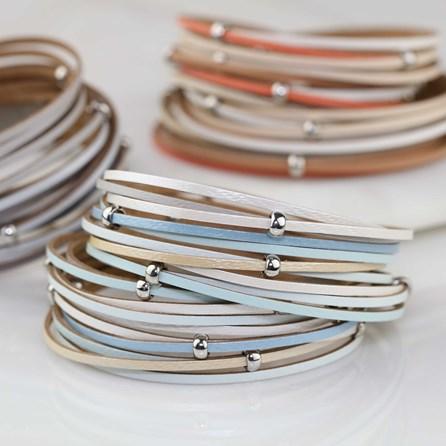 Stranded Leather Wrap Around Bracelet