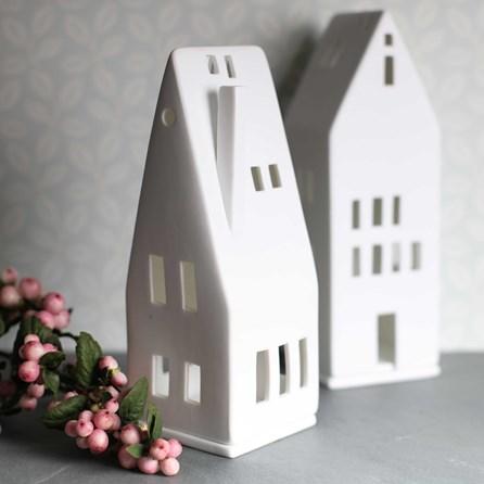 Porcelain Tea Light Holder House With Chimney