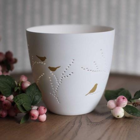 Porcelain Bird Design Tealight Holder