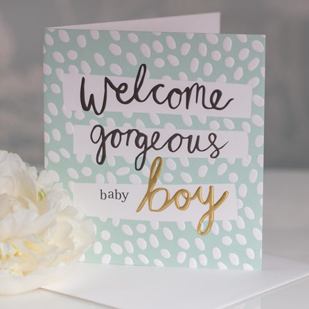 Caroline Gardner 'Welcome Beautiful Baby Boy' Greetings Card