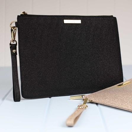Stunning Black Stardust Evening Clutch Bag
