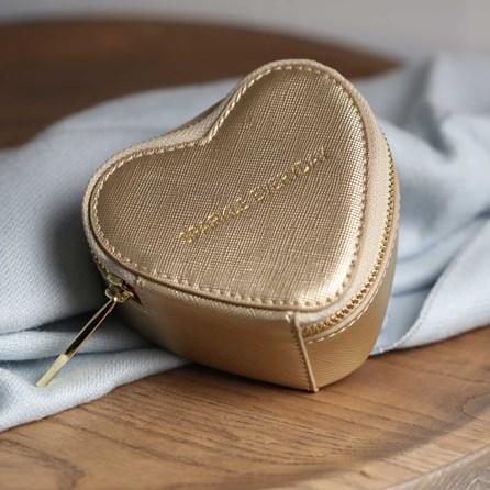 Heart Shaped Gold Metallic Jewellery Box