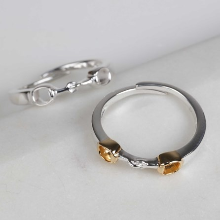 Solid Silver And 18ct Gold Riding Snaffle Ring