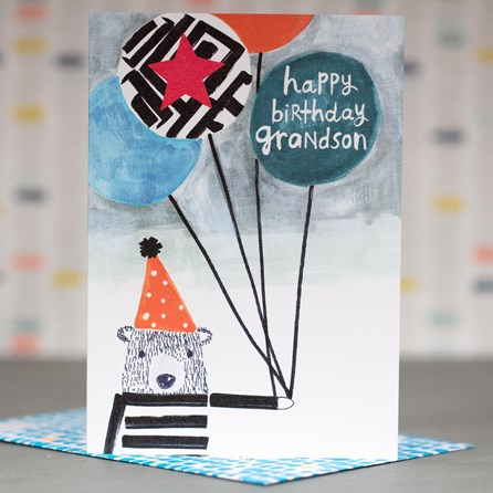 'Happy Birthday Grandson' Greetings Card