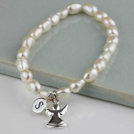 Personalised Freshwater Pearl Angel Bracelet