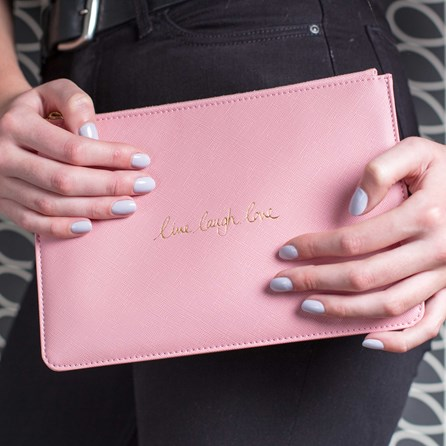Katie Loxton Personalised 'Live Laugh Love' Pink Perfect Pouch