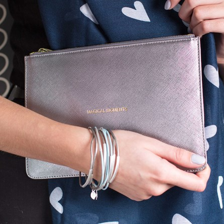 Katie Loxton Personalised 'Magical Moments' Silver Perfect Pouch
