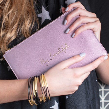 Katie Loxton Personalised 'Hey…' Metallic Pink Perfect Pouch