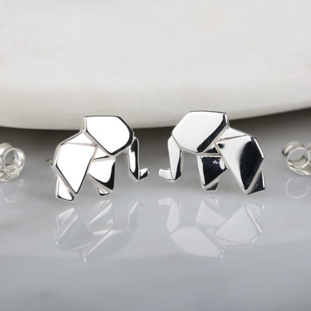 Stunning Silver Origami Elephant Earrings