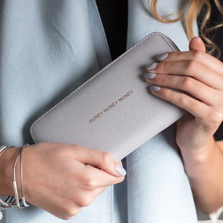 'Money Money Money' Purse In Pale Grey