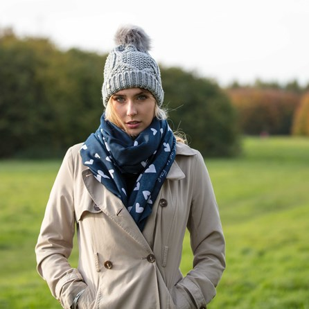 'Wrapped Up In Love' Navy Blue Scarf