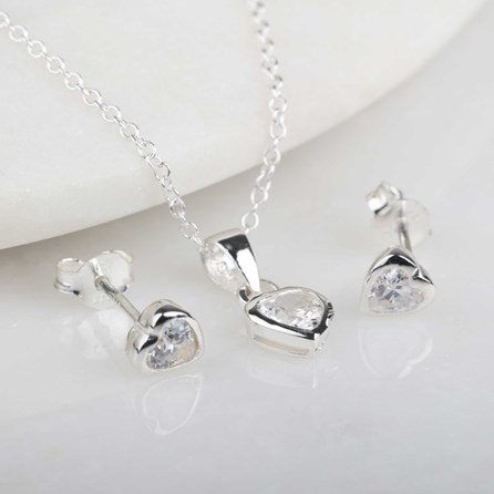 Children's Solid Silver Crystal Heart Pendant And Studs