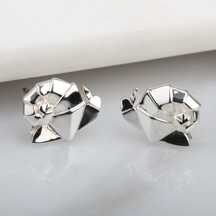 Stunning Silver Origami Snail Earrings