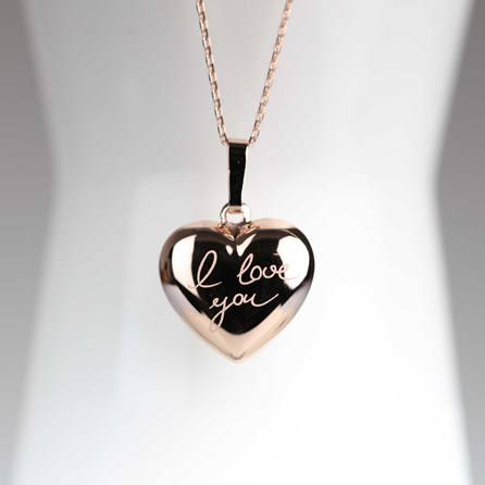 'I Love You' Rose Gold Heart Charm Necklace