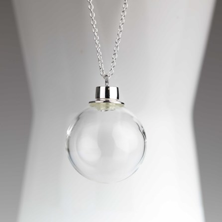 Hand Blown Glass Sphere Silver Necklace