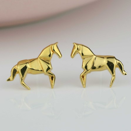 Stunning Gold Origami Horse Earrings