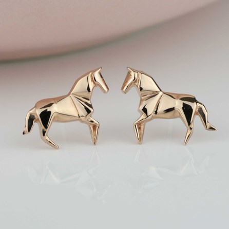 Stunning Rose Gold Origami Horse Earrings