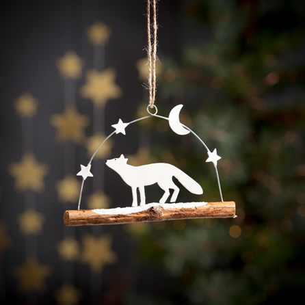 Arctic Snow Fox On Twig Hanging Decoration