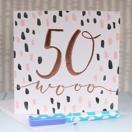 '50 Wooo' Rose Gold Luxe Birthday Card