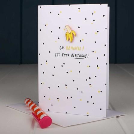 'Go Bananas' Enamel Pin And Card
