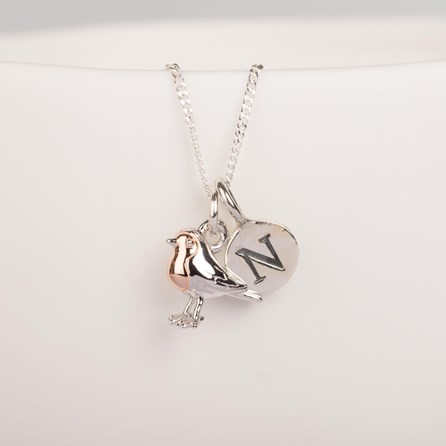 Personalised Solid Silver Baby Robin Necklace