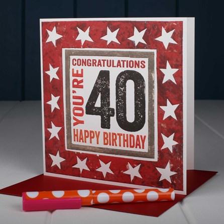 'Happy 40th' Birthday Card