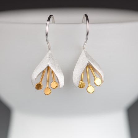Solid Silver And Gold Fuchsia Earrings