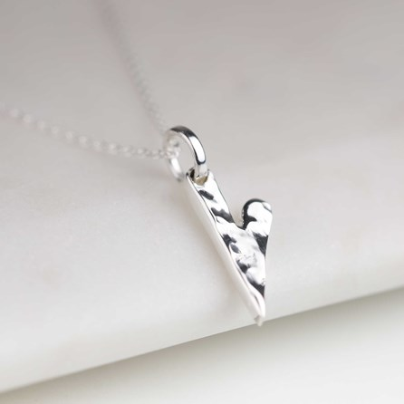 Solid Silver Elongated Hammered Heart Necklace