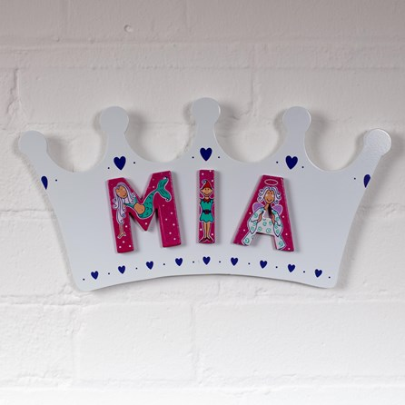Wooden White Crown Name Plaque