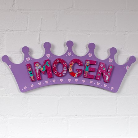 Large Wooden Lilac Crown Name Plaque