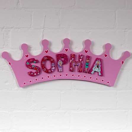 Large Wooden Pink Crown Name Plaque