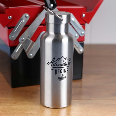 Adventure Begins Silver Water Bottle