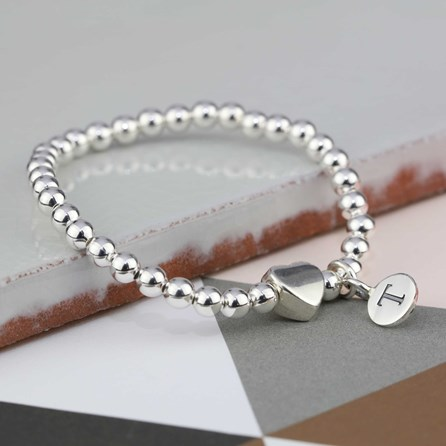 Personalised Solid Silver 'Tilly' Heart Bracelet