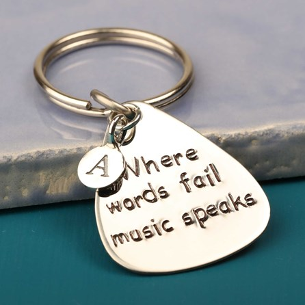 'Where Words Fail Music Speaks' Plectrum Keyring