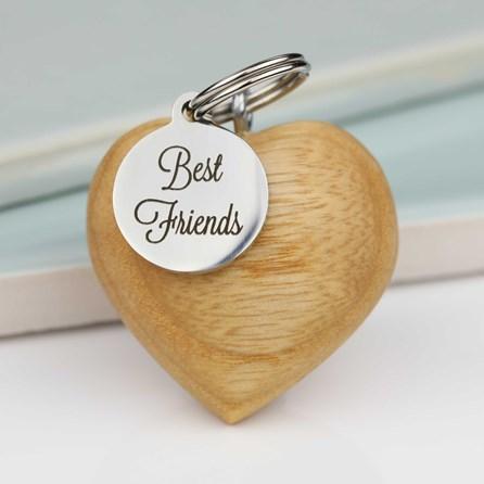 Handmade Wooden Heart Best Friends Keyring