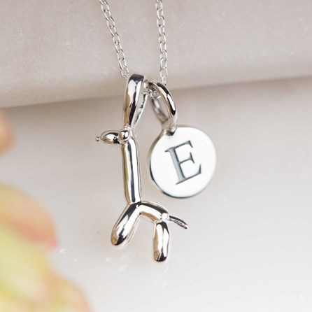 Personalised Silver Balloon Giraffe Pendant