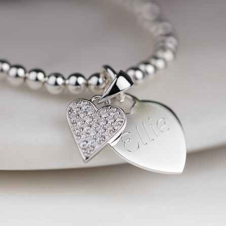 Personalised Children's Silver Heart Skinny Bracelet