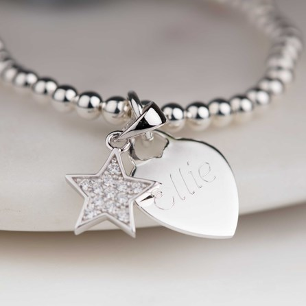 Personalised Children's Star Skinny Bead Bracelet
