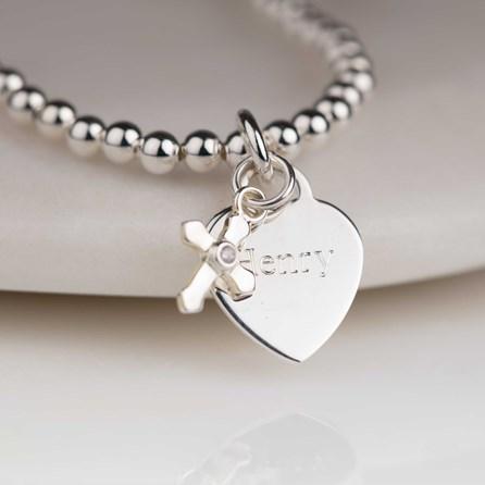 Personalised Child's Christening Cross Skinny Bracelet