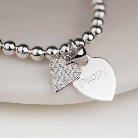 Personalised Children's Silver Heart Bead Bracelet