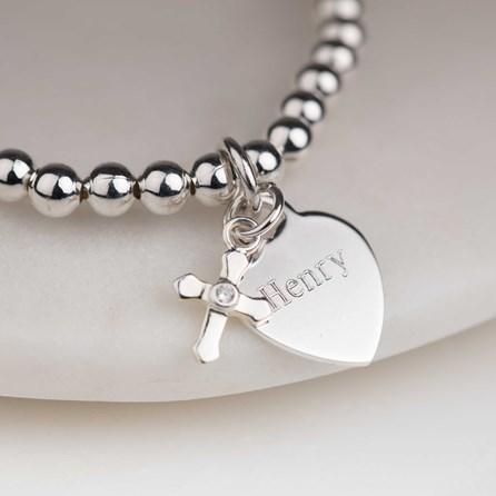 Personalised Children's Christening Cross Bead Bracelet