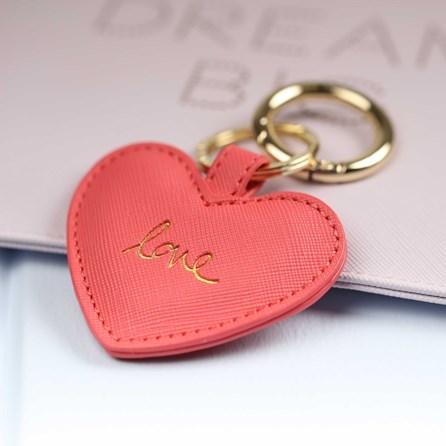 'Love' Deep Pink Heart Keyring