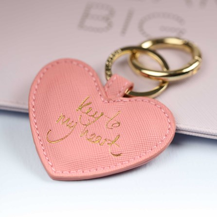 Katie Loxton 'Key To My Heart' Pink And Gold Keyring