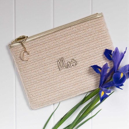 Katie Loxton Personalised Woven Gold Straw 'Mrs' Pouch