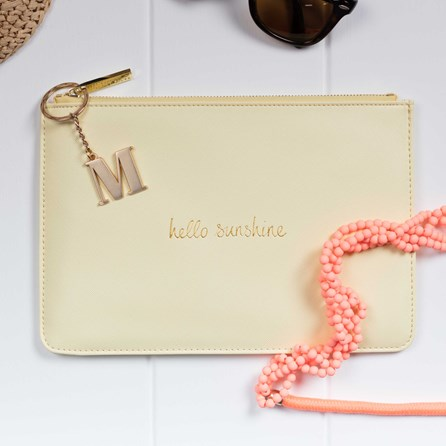 Personalised 'Hello Sunshine' Soft Yellow Perfect Pouch