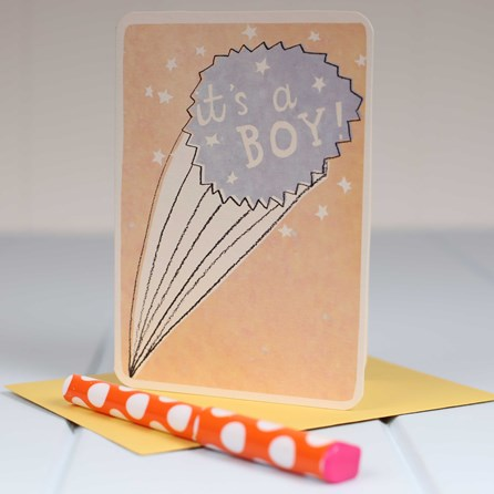 'It's A Boy' Starburst Greetings Card