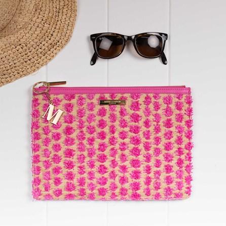 Katie Loxton Personalised Polly Pink Pom Pom Straw Clutch Bag